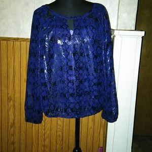 Sheer navy blue Jennifer Lopez blouse
